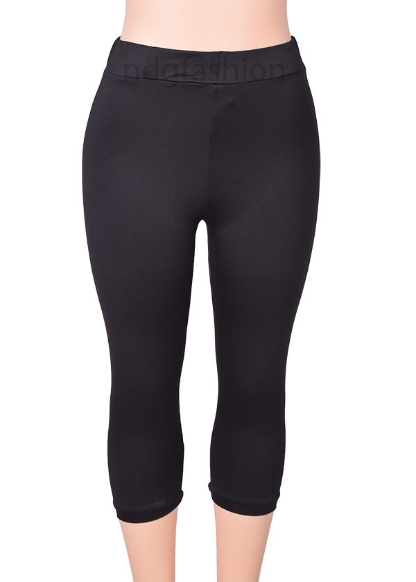black spandex 3/4 leggings-ndg-fashion