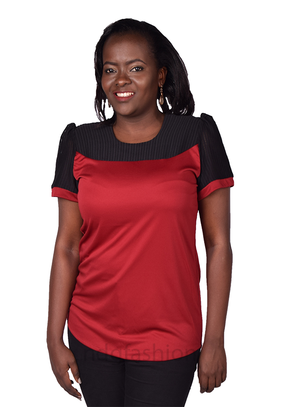 37. Red top with mesh-front-ndg-fashion
