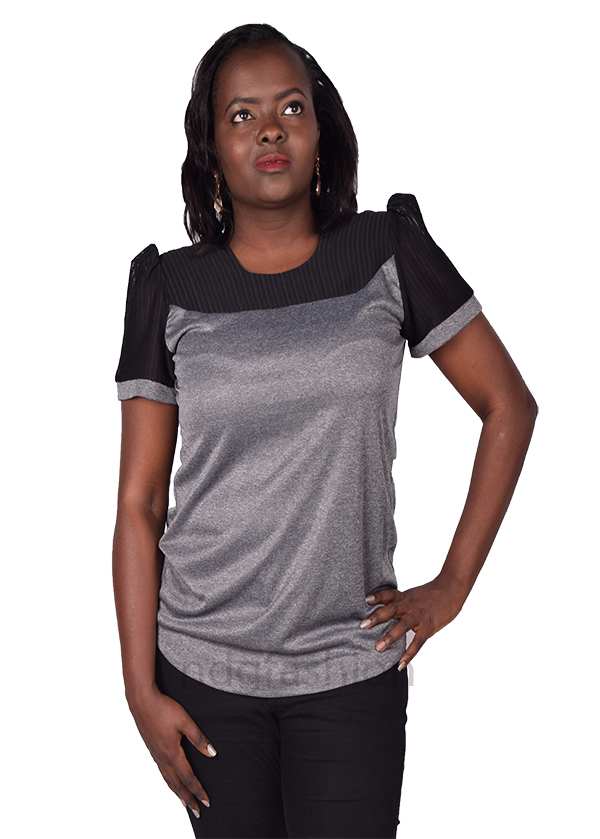 38. Grey, top with mesh-front-ndg-fashion