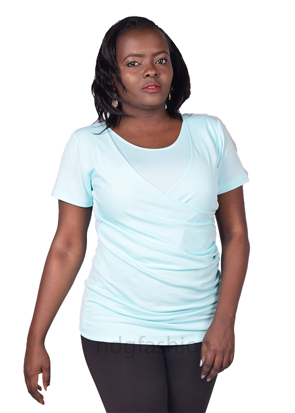 7. Light green, crossover breastfeeding top-front-ndg-fashion